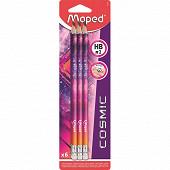 Crayon graphite plastique hb ambout gomme cosmic teens x6 blis