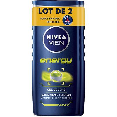 Nivea Nivea Bath Care shampooing-douche energy men 2x250ml