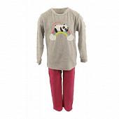 Pyjama long manches longues fille GRIS CHINE/FUSHIA 12ANS