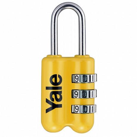Yale cadenas de voyage à combinaison 23 mm assortiment 3 couleurs : gris, rouge, jaune, 3 chiffres