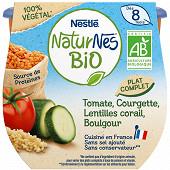 Nestlé naturnes bio végétal tomates courgettes lentilles corail boulgour dès 8 mois 2x190g