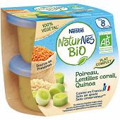 Nestlé naturnes bio poireau lentilles corail quinoa dés 8 mois 2x190g