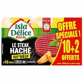 Isla délice steaks hachés halal 100% boeuf x10 +2 offerts 960g