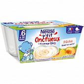 Nestlé P'tit Onctueux fromage blanc pêche dès 6 mois 4x100g