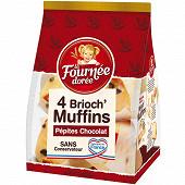 La fournée dorée - 4 brioch'muffins pépites chocolat 220g
