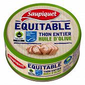 Saupiquet thon entier trait d'huile d'olive vierge extra équitable MSC 130g