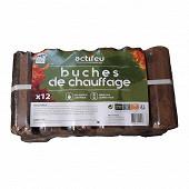 Actifeu pack de 12 buchettes de chauffage poids 10 kg