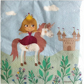 Serviettes x20 princesse licorne 33x33cm