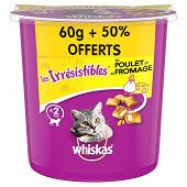 Whiskas irrésistibles poulet fromage 60g + 50%