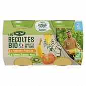 Bledina les recoltes bio pots 2 pommes ananas 2 pommes bananes kiwis 4x130g