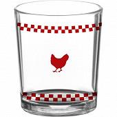 Gobelet en verre 25cl décor poule