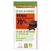 Ethiquable chocolat noir 70%cacao Pérou bio 100g