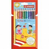 Stabilo pochette de 12 crayons de couleur trio