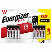 Energizer 8 piles Max AAA (lr03)  6+2 piles gratuites
