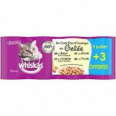 Whiskas boîtes pour chat la carte mer et campagne en gelée 9x1/2 + 3 offertes