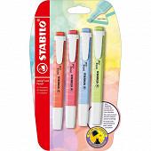 4 surligneurs Stabilo swing cool pastel (citron vert, rose, bleu, cora)