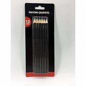 Lot de 12 crayons graphite tailles sans gomme