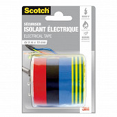 Scotch réparer isolation électrique lot assortis 4 couleurs 5 m X15 mm