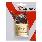 Vachette cadenas atlas, 50 mm corps en laiton massif verni satiné, 2 clés