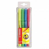 Pochette 4 surligneurs stabilo flash - coloris assortis