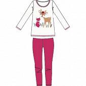 Pyjama long manches longues fille CREAM/FUSHIA 10ANS