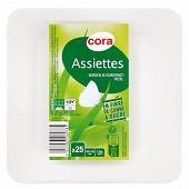 Cora assiettes x25 carrées biodégradables 15,5cm