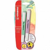 Stabilo blister de 2 surligneurs swing cool pastel édition coloris vert et lilas