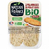 Nature de France escalope milanaise de poulet cru bio x2