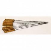 Verciel 10 brochettes acier chromé manche bois réf 450105PR