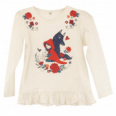 Tee shirt manches longues fille CANARD 18-4630 TCX 12ANS
