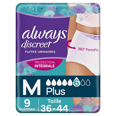 Always Always discreet sous vetements incontinence plus taille M X9