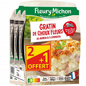 Fleury Michon gratin de choux-fleurs au jambon 3x280g  2+1 offert 840g