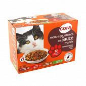 Cora menus gourmands en sauce pour chat 12 x 100g