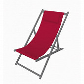 Chilienne alu 90/104x57.5x96/79cm assise polyester+pvc rouge