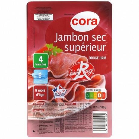 Cora jambon sec supérieur label rouge 9 mois 4 tranches 100g