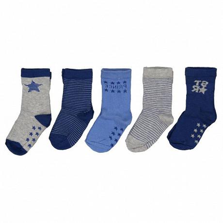 Lot de 5 paires de mi chaussettes bébé MARINE/GRIS/BLEU 24\26