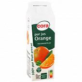 Cora pur jus d'orange sans pulpe brique 1l