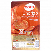 Cora chorizo espagnol doux 20 tranches 100g