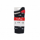 Lot de 3 paires de mi chaussettes fantaisies MARINE/GRIS 36\40