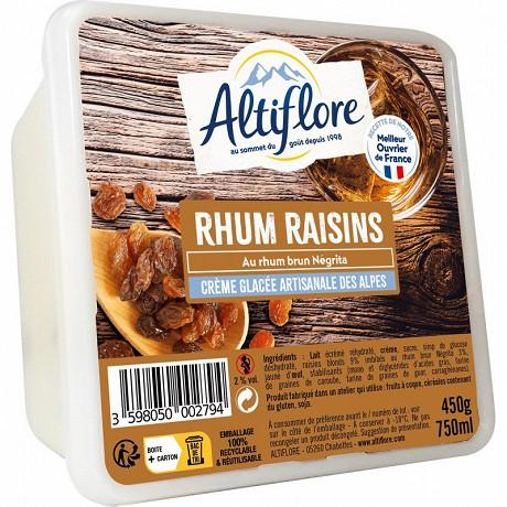 Altiflore bac crème glacée artisanale rhum raisin 750ml - 450g