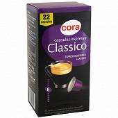 Cora capsules espresso classico x22 114g