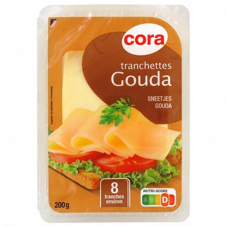 Cora tranchettes gouda 8 tranches 200g 30% mg/pt lait pasteurisé