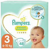 Pampers premium protection langes géant taille 3 x48