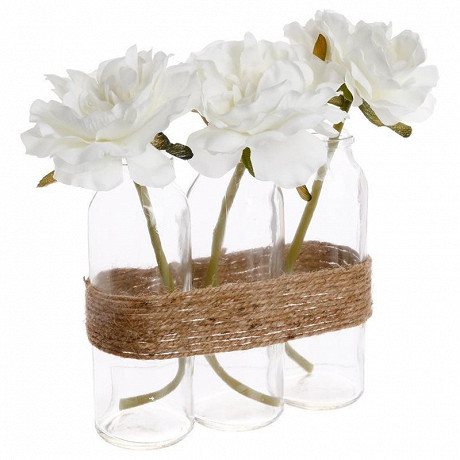 Ensemble 3 vases avec fleurs