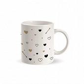 Mug droit 33cl bord lisère rose + craie rose