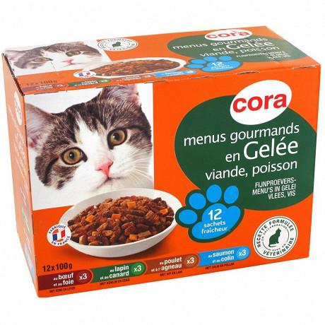 Cora menus gourmands en gelée pour chat  12 x 100g