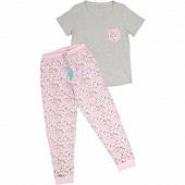 Pyjama long manches courtes femme GRIS CHINE/ROSE T50\52