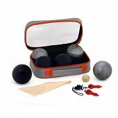Double triplette de pétanque k ro 3 boules noir mat 3 boules acier mat