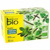 Nature bio infusion réglisse menthe 20 sachets 30g