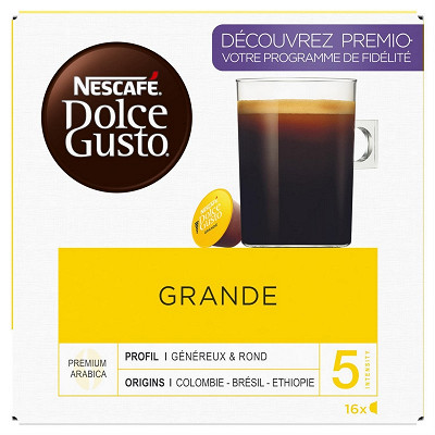 Nescafé Nescafé Dolce Gusto Grande, capsule café intensité 5 x16 dosettes